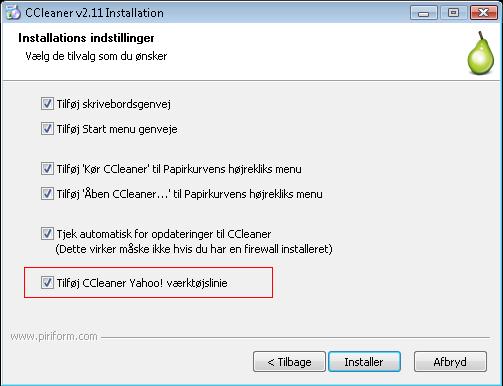 CCleaner installation
