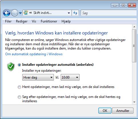windows update indstillinger