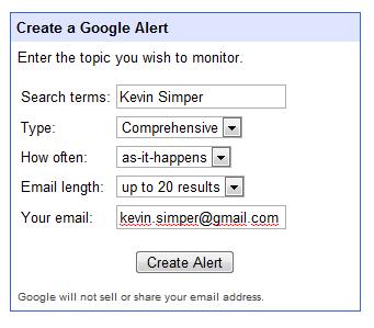 Google Alert opsætning